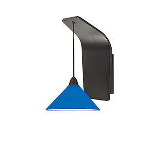 Jill Rubbed Bronze One-Light Pendant Wall Sconce with Blue  Blown Glass