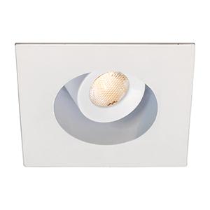 LEDme White LED Square Mini Recessed Adjustable Light with 2700K Warm White