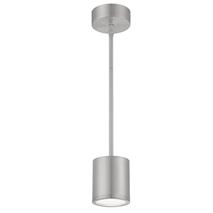 Tube Brushed Aluminum Energy Star LED Pendant with White Glass Diffuser