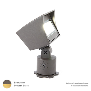 Bronzed Brass Adjustable LED Output Low Voltage Landscape Flood Light, 3000 Kelvins