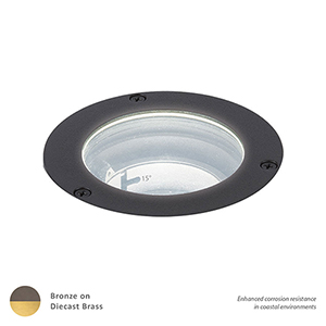 Bronzed Brass Adjustable Beam and LED Output Landscape Inground Well Light, 2700 Kelvins