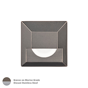 Bronzed Stainless Steel LED Low Voltage Square Landscape Step and Wall Light
