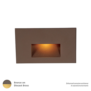 Bronzed Brass Amber LED Low Voltage Landscape Step and Wall Light