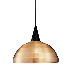 Felis Black Dome Pendant with Cone Socket and Copper Shade