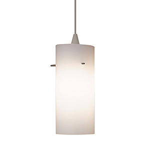 Dax Brushed Nickel Mini Pendant with Cone Socket and White Shade