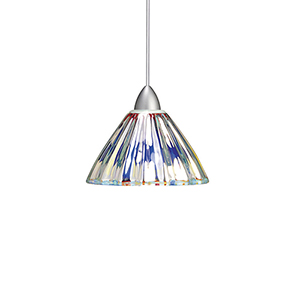 Eden Brushed Nickel Mini Pendant with Dichroic Coated Shade