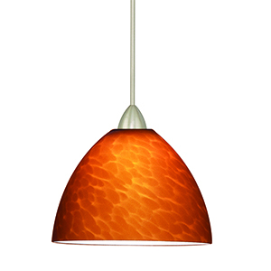 Faberge Brushed Nickel Mini Pendant with Amber Shade