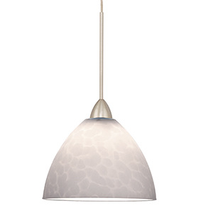 Faberge LED Brushed Nickel Mini Pendant with White Shade