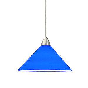 Jill Brushed Nickel Mini Pendant with Blue Shade