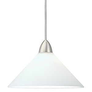 Jill LED Brushed Nickel Mini Pendant with White Shade