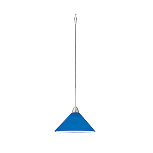 Jill Quick Connect Brushed Nickel Mini Pendant with Blue Shade