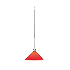 Jill Quick Connect Brushed Nickel Mini Pendant with Red Shade