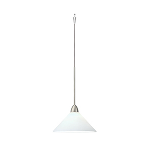 Jill Quick Connect Brushed Nickel Mini Pendant with White Shade