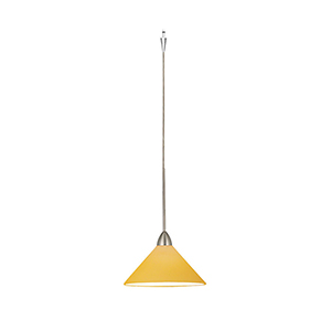 Jill LED Quick Connect Brushed Nickel Mini Pendant with Amber Shade