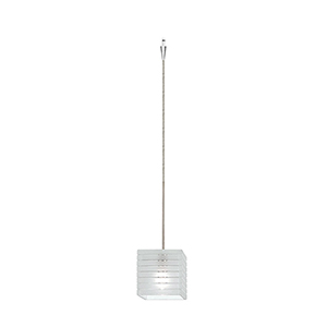 Tulum Quick Connect Brushed Nickel Mini Pendant with Frosted Shade