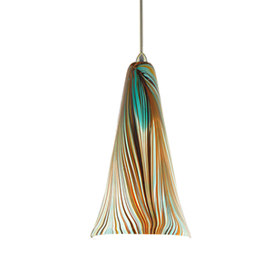 Zanzibar Brushed Nickel Mini Pendant with Peacock Shade