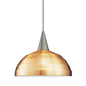 Felis Brushed Nickel Dome Pendant with Cone Socket and Copper Shade