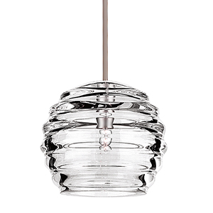 Clarity Brushed Nickel Mini Pendant with Clear Shade