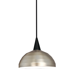 Felis L Series Black Mini Pendant with Cone Socket and Brushed Nickel Shade