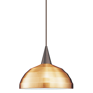 Felis L Series Brushed Nickel Mini Pendant with Cone Socket and Copper Shade
