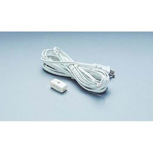 15-Inch Cord, Male Plug and Switch - White
