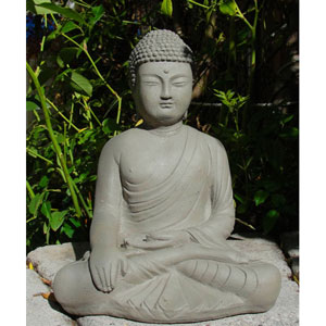 Antique Detailed Buddha Cast Stone Statue