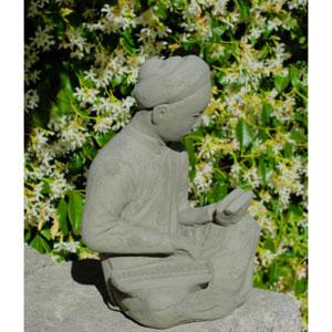 Antique Asian Scholar Cast Stone Statue