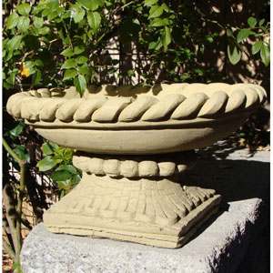 Old Stone Braided Bowl on Base Cast Stone Statue