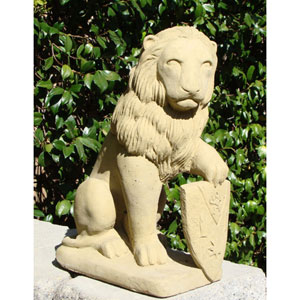 Old Stone Lion w/ Shield Cast Stone Statue
