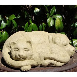 Old Stone Sleeping Pets Cast Stone Statue