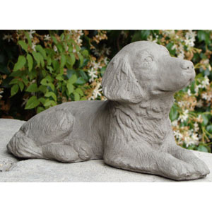 Antique Retriever Puppy Cast Stone Statue