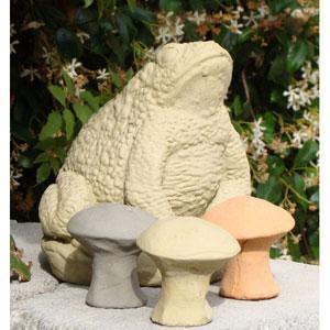 Old Stone Small Mushroom (Set of 3) Cast Stone Statue