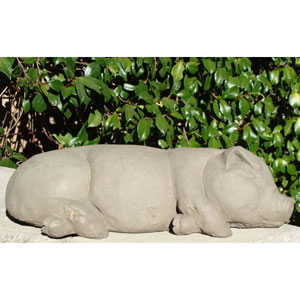 Antique Large Sleeping Pig Cast Stone Statue
