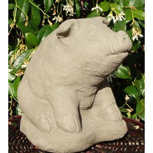 Antique Vintage Sitting Pig Cast Stone Statue