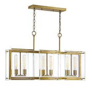 Prescott Warm Brass Six-Light Linear Chandelier