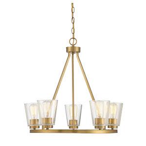 Calhoun Warm Brass Five-Light Chandelier