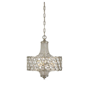Silver Lace Three-Light Pendant with Clear Crystal