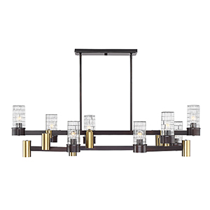 Bunker English Bronze and Warm Brass LED 14-Light Linear Chandelier