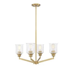 Hampton Warm Brass Four-Light Chandelier