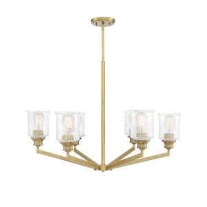 Hampton Warm Brass Six-Light Chandelier