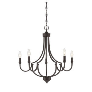 Auburn English Bronze Five-Light Chandelier