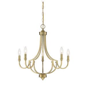 Auburn Warm Brass Five-Light Chandelier