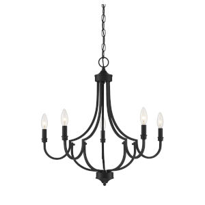 Auburn  Matte Black Five-Light Chandelier