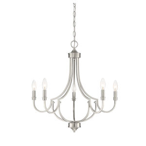 Auburn Satin Nickel Five-Light Chandelier