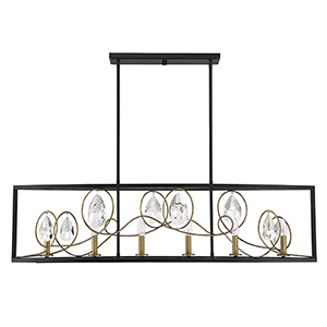 Suave Como Black with Gold Six-Light Linear Chandelier