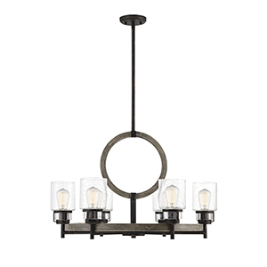 Hartman Noblewood with Iron Six-Light Chandelier