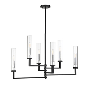 Folsom Matte Black with Polished Chrome Accents Six-Light Linear Chandelier