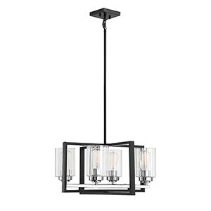 Redmond Matte Black with Polished Chrome Accents Four-Light Chandelier