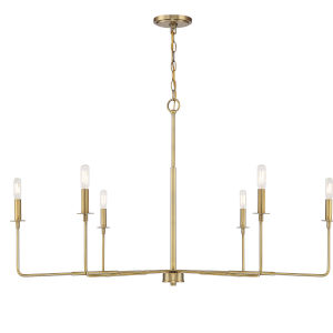 Salerno Warm Brass Six-Light Chandelier