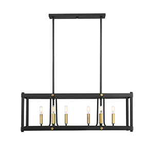 Fowler Vintage Black with Warm Brass Eight-Light Linear Chandelier